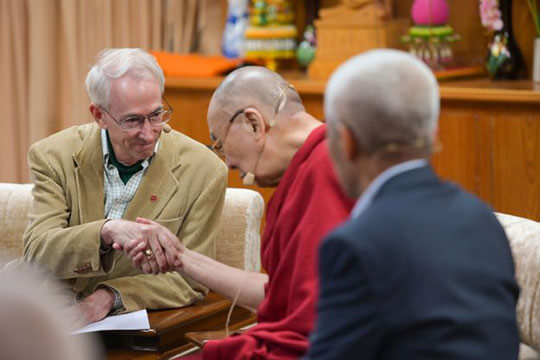 David Sloan Wilson with His Holiness The Dalai Lama in 2019